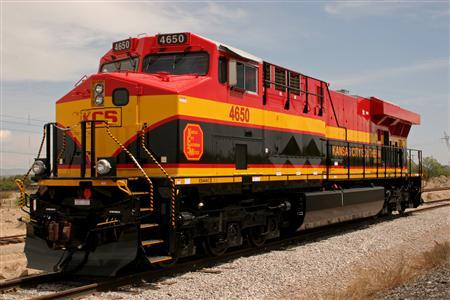 A Kansas City Southern locomotive is seen in this undated handout photo. REUTERS/Kansas City Southern/Handout