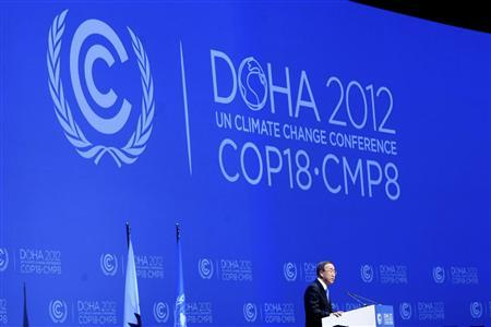 U.N. Secretary-General Ban Ki-moon talks during the opening ceremony of the plenary session of the high-level segment of the 18th session of the Conference of Parties (COP18) of the United Nations Framework Convention on Climate Change (UNFCCC) in Doha December 4, 2012. REUTERS/Fadi Al-Assaad