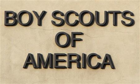 The Boy Scouts of America signage is seen on the Cushman Watt Scout Center, headquarters of the organization for the Los Angeles Area Council, in Los Angeles, California in this October 18, 2012 file photograph. REUTERS/Fred Prouser/Files