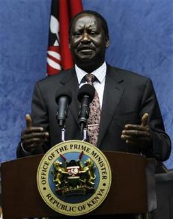 Kenya's Prime Minister Raila Amollo Odinga addresses a media briefing after holding talks with Somalia's Prime Minister Abdiweli Mohamed Ali (not pictured) in Kenya's capital Nairobi, October 31, 2011, about the Kenyan offensive in Somalia. REUTERS/Thomas Mukoya