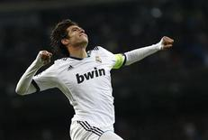 Kaká comemora gol do Real Madrid contra o Ajax Amsterdã nesta terça-feira. REUTERS/Juan Medina
