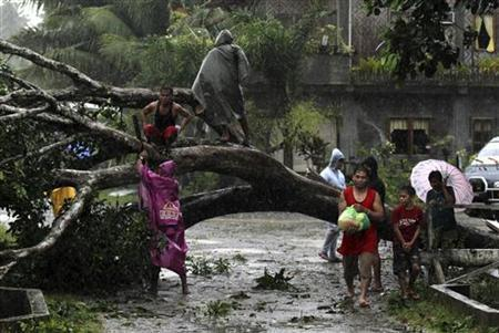 Residents saw an uprooted tree to clear the road after Typhoon Bopha hit Tagum City, southern Philippines December 4, 2012. REUTERS/Stringer