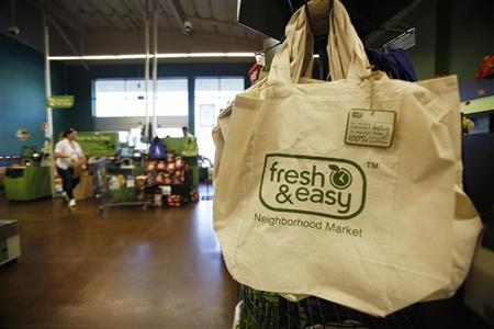 Shopping bags for sale are pictured inside a Fresh & Easy store in Burbank, California October 19, 2012. REUTERS/Mario Anzuoni