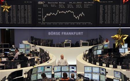 Traders are pictured at their desks in front of the DAX board at the Frankfurt stock exchange December 4, 2012. REUTERS/Remote/Marte Kiessling
