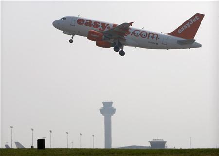 File photograph of an EasyJet aircraft taking off from Stansted Airport in Essex, southern England March 19, 2009. REUTERS/Stephen Hird/Files