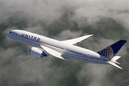 A United Airlines 787 Dreamliner is pictured in this undated handout photo. REUTERS/United Airlines/Hanout