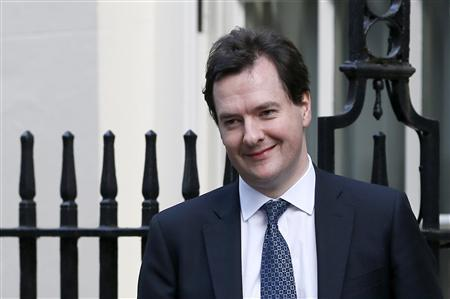 Britain's Chancellor of the Exchequer George Osborne leaves Downing Street in London, December 4, 2012. Osborne will invest 5 billion pounds ($8 billion) in schools, science and transport capital projects, the government said on Tuesday, funded by departmental savings across the next two-and-a-half years. Osborne, struggling to complete a tough austerity programme to bring down British government borrowing, has come under pressure to do more to boost a flagging economy. (REUTERS/Stefan Wermuth