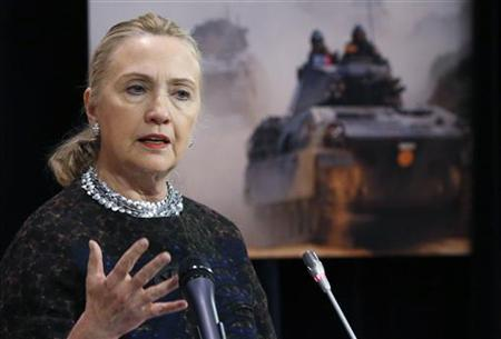U.S. Secretary of State Hillary Clinton addresses a news conference during a NATO foreign ministers meeting at the Alliance headquarters in Brussels December 5, 2012. REUTERS/Francois Lenoir