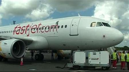 Video screenshot of a Fastjet airplane at Mwalim Nyerre International Airport, Dar Es Salaam, Tanzania on November 27, 2012. REUTERS/TV
