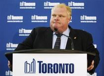 Toronto's Rob Ford makes a statement to the media in Toronto November 27, 2012. Ford, a magnet for controversy during two years as mayor of Canada's largest city, was ordered out of office on Monday after a judge found him guilty of breaking conflict-of-interest laws. Ontario Superior Court Judge Charles Hackland ruled Ford acted wrongly when he voted at city council to scrap a fine imposed on him for accepting donations to his football foundation from lobbyists. REUTERS/Mark Blinch