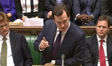Britain's Chancellor of the Exchequer George Osborne delivers his autumn budget in parliament in London December 5, 2012. REUTERS/UK Parliament