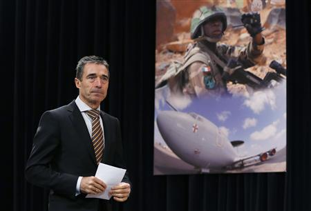 NATO Secretary General Anders Fogh Rasmussen arrives at a news conference during a NATO foreign ministers meeting at the Alliance headquarters in Brussels December 5, 2012. REUTERS/Francois Lenoir