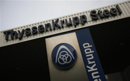The logo of German industrial conglomerate ThyssenKrupp AG is seen outside Gate 1 to the ThyssenKrupp steelworks in the western German city of Duisburg, in this May 31, 2012 file photo. REUTERS/Wolfgang Rattay/Files