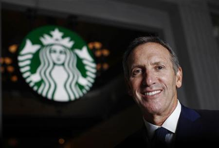 Howard Schultz CEO of Starbucks poses during an interview with Reuters in Shanghai April 19, 2012. Starbucks Corp wants to make its mainland China expansion a family affair. REUTERS/Carlos Barria