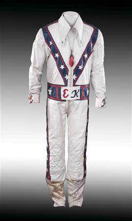 The jump suit of motorcycle stunt man Evel Knievel is shown in this publicity photo released to Reuters December 5, 2012. Auction house Profiles in History will put the suit and Knievel's helmet on the block on December 15, 2012. REUTERS/Profiles in History/Handout
