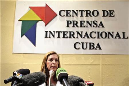 Josefina Vidal, Cuba's director of U.S. Affairs at the Ministry of Foreign Affairs, addresses the media during a news conference regarding U.S. contractor Alan Gross in Havana December 5, 2012. REUTERS/Enrique De La Osa