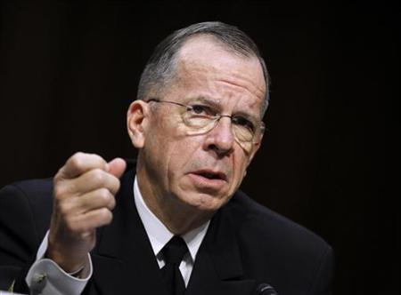 Ex-Chairman of the Joint Chiefs of Staff Admiral Mike Mullen speaks at a Senate Armed Services Committee hearing on Capitol Hill in Washington, September 22, 2011. REUTERS/Jason Reed