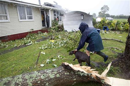 A woman returns a lost dog to its ruined home amid the devastation in the suburb of Hobsonville after a tornado went through the western suburb in Auckland December 6, 2012. REUTERS/Nigel Marple