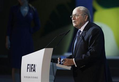 FIFA president Sepp Blatter speaks during the official draw for FIFA Confederations Cup Brazil 2013 in Sao Paulo, December 1, 2012. REUTERS/Nacho Doce