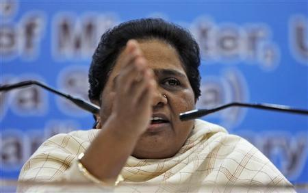 India's Bahujan Samaj Party (BSP) Chief Mayawati gestures as she address the media during a news conference in New Delhi December 3, 2012. REUTERS/Mansi Thapliyal