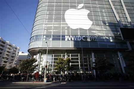 An Apple logo is seen at the Apple Worldwide Developers Conference 2012 in San Francisco, California June 11, 2012. REUTERS/Stephen Lam
