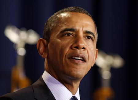 U.S. President Barack Obama speaks to the Nunn-Lugar Cooperative Threat Reduction symposium at the National Defense University in Washington, December 3, 2012. REUTERS/Larry Downing