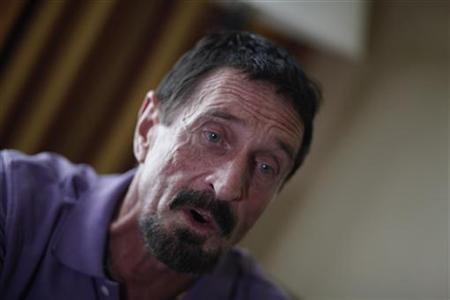 John McAfee, anti-virus software guru, speaks during an interview with Reuters in Guatemala City, December 5, 2012. REUTERS/Jorge Dan Lopez