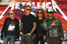 From L - R: Drummer Lars Ulrich, lead vocalist James Hetfield, guitarist Kirk Hammett and bassist Robert Trujillo of the heavy metal band Metallica pose during a photocall in Mexico City July 28, 2012. REUTERS/Stringer