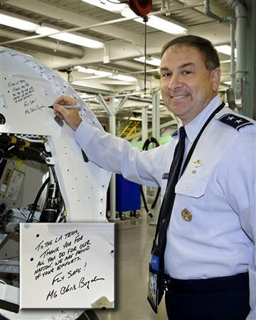 F-35 Deputy Program Executive Officer U.S. Air Force Lieutenant General Christopher Bogdan poses during his inaugural visit to meet with employees and tour the Lightning II production line and flight line at Lockheed's factory in Fort Worth, Texas, in this photograph taken on October 15, 2012 and released on December 5, 2012. REUTERS/Lockheed/Handout