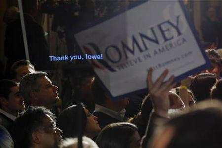 Republican presidential candidate and former Massachusetts Governor Mitt Romney's onstage teleprompter reads ''Thank You, Iowa!'' before he appeared at his 2012 Iowa Caucus night rally in Des Moines, Iowa January 3, 2012. REUTERS/Brian Snyder/Files