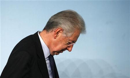 Italian Prime Minister Mario Monti leaves after a media conference at the Chigi palace in Rome December 6, 2012. REUTERS/Stefano Rellandini