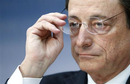 European Central Bank (ECB) President Mario Draghi takes off his glasses during the monthly ECB news conference in Frankfurt December 6, 2012. REUTERS/Lisi Niesner