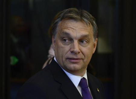 Hungary's Prime Minister Viktor Orban arrives at the EU council headquarters for an European Union leaders summit discussing the European Union's long-term budget in Brussels November 22, 2012. REUTERS/Eric Vidal