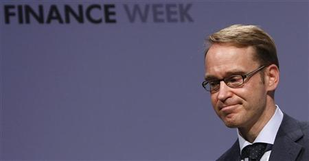 President of German Bundesbank Jens Weidmann reacts on the podium during the Frankfurt Euro Finance Week in Frankfurt November 19, 2012. REUTERS/Lisi Niesner