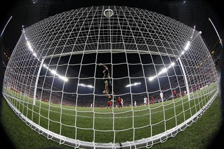 Spain's goalkeeper Iker Casillas makes a save during their Euro 2012 quarter-final soccer match against France at Donbass Arena in Donetsk June 23, 2012. REUTERS/Michael Buholzer