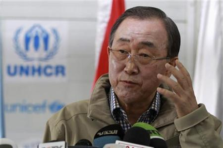 United Nations (U.N.) Secretary-General Ban Ki-moon gestures while speaking to the media during his visit to Al Zaatri refugee camp, in the Jordanian city of Mafraq, near the border with Syria December 7, 2012. REUTERS/Muhammad Hamed