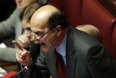 Il segretario del Pd Pier Liugi Bersani oggi alla Camera. REUTERS/Tony Gentile