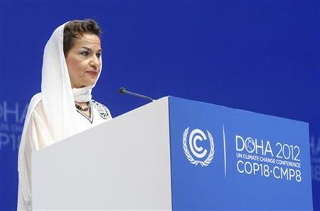 U.N. Convention on Climate Change Executive Secretary Christiana Figueres talks during the opening ceremony of the plenary session of the high-level segment of the 18th session of the Conference of Parties (COP18) of the United Nations Framework Convention on Climate Change (UNFCCC) in Doha December 4, 2012. REUTERS/Fadi Al-Assaad