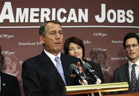 U.S. House Speaker John Boehner (R-OH) gestures during a news conference on the fiscal cliff, after a closed GOP meeting at Capitol Hill in Washington, December 5, 2012. REUTERS/Yuri Gripas