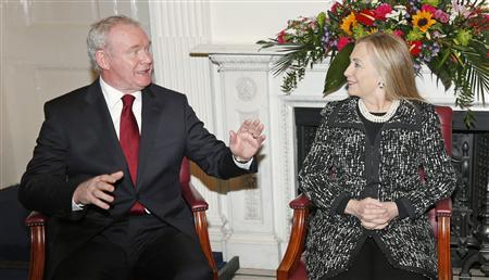 U.S. Secretary of State Hillary Clinton meets with Northern Ireland's Deputy First Minister Martin McGuinness at Stormont Castle in Belfast December 7, 2012. Clinton travelled to Northern Ireland on Friday to lend her support to the British province's fragile peace, the frailty of which was underlined by overnight rioting on the eve of her visit and the seizure of a bomb. REUTERS/Kevin Lamarque