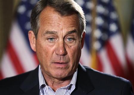U.S. House Speaker John Boehner (R-OH) speaks to the media outside his office on Capitol Hill in Washington, December 7, 2012. REUTERS/Yuri Gripas
