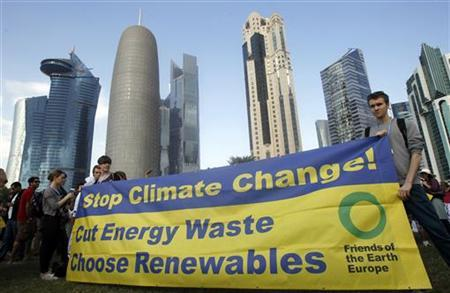 Activists stand with a banner before a march to demand action to address climate change in Doha December 1, 2012. REUTERS/Mohammed Dabbous
