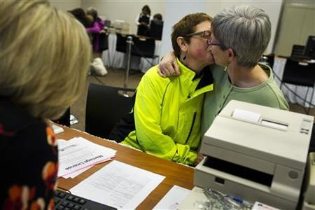 Phebe Jewell (L), and Dawn Mere-Ama, kiss after getting their marriage license in Seattle, Washington December 6, 2012. REUTERS/Jordan Stead