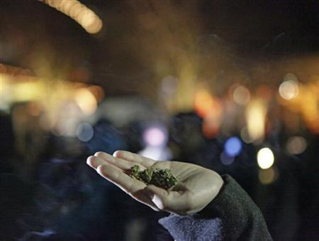 Marijuana is seen in the hand of a person after the law legalizing the recreational use of marijuana went into effect in Seattle, Washington December 6, 2012. REUTERS/Cliff Despeaux