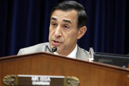 Congressman Darrell Issa (R-CA), chairman of the House Oversight and Government Reform Committee, speaks during ''The Security Failures of Benghazi'' hearing on Capitol Hill, Washington D.C. October 10, 2012. REUTERS/Jose Luis Magana