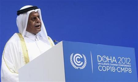 President of COP18 Abdullah bin Hamad Al-Attiyah talks during the opening ceremony of the plenary session of the high-level segment of the 18th session of the Conference of Parties (COP18) of the United Nations Framework Convention on Climate Change (UNFCCC) in Doha December 4, 2012. REUTERS/Fadi Al-Assaad