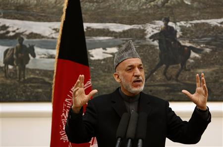 Afghan President Hamid Karzai speaks during a news conference in Kabul December 8, 2012. Karzai said on Saturday a suicide bombing that wounded his intelligence chief was planned in the Pakistani city of Quetta and that he would raise the issue with Islamabad. REUTERS/Mohammad Ismail