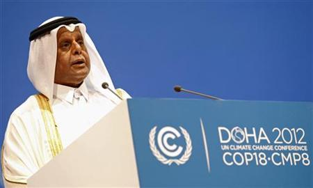Abdullah bin Hamad Al-Attiyah President of the (COP18) at the United Nations Framework Convention on Climate Change (UNFCCC) speaks in Doha November 26, 2012. REUTERS/Mohammed Dabbous
