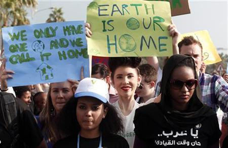 Activists march to demand action to address climate change in Doha December 1, 2012. REUTERS/Mohammed Dabbous