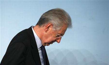 Italian Prime Minister Mario Monti leaves after a media conference at Chigi Palace in Rome in this December 6, 2012 file photo. REUTERS/Stefano Rellandini/Files